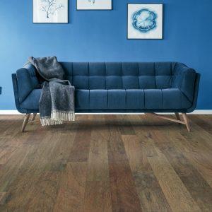 Blue couch on Hardwood floor | J/K Carpet Center, Inc