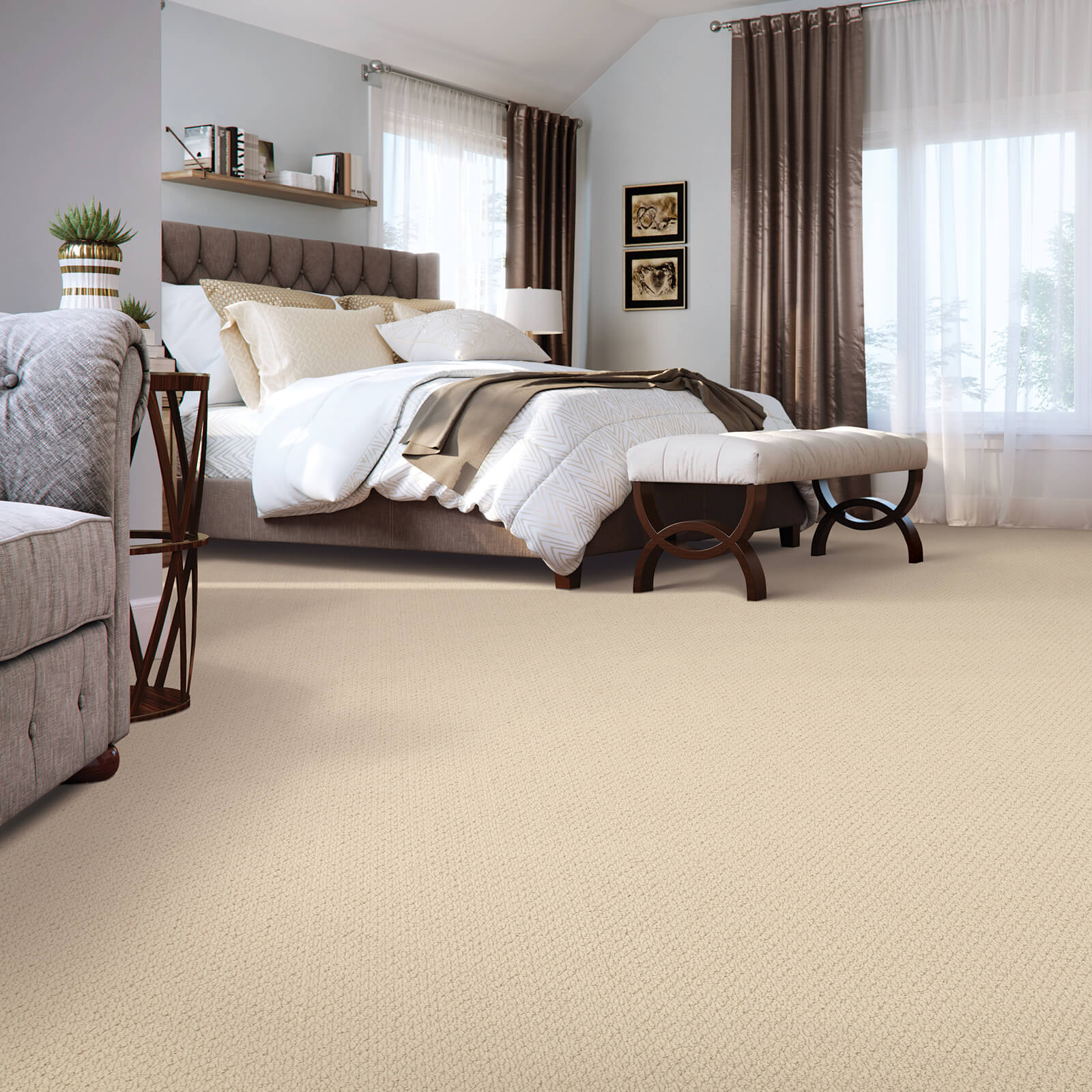 New carpet in bedroom | J/K Carpet Center, Inc